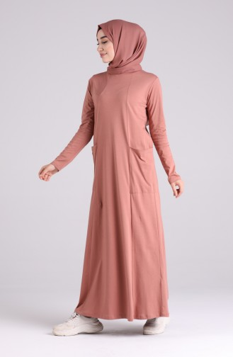 Cotton Dress with Pockets 0321-08 Light Pink 0321-08