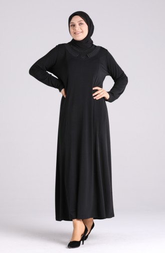 Büyük Beden Taşlı Elbise 4576-01 Siyah