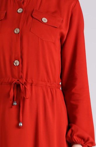 Ziegelrot Hijap Kleider 4055-02
