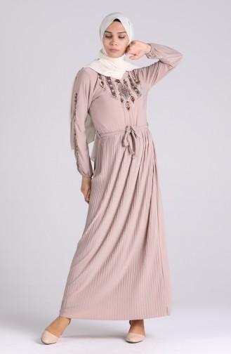 Nakışlı Sandy Elbise 5758-02 Gri