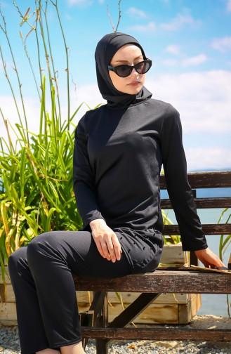 Maillot de Bain Hijab Noir 1013-01