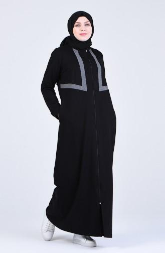 Büyük Beden Fermuarlı Spor Ferace 10031-01 Siyah