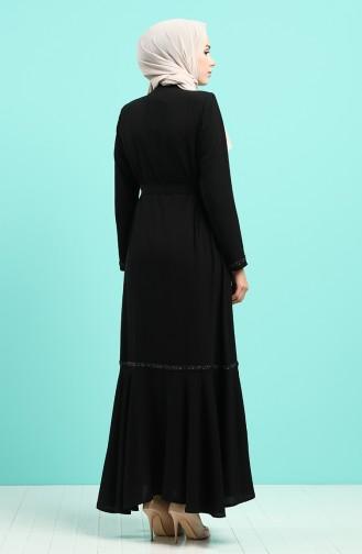 Taş Şeritli Kuşaklı Ferace 8096-04 Siyah