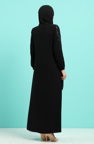 Payetli Abiye Ferace 8097-01 Siyah