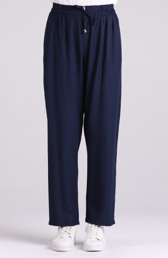 Aerobin Fabric Trousers with Pockets 0151-14 Navy Blue 0151-14