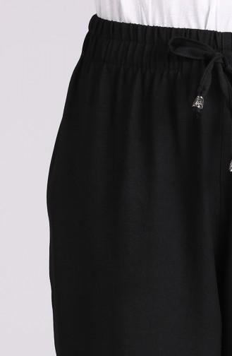 Tensel Beli Lastikli Bol Paça Pantolon 0181-01 Siyah