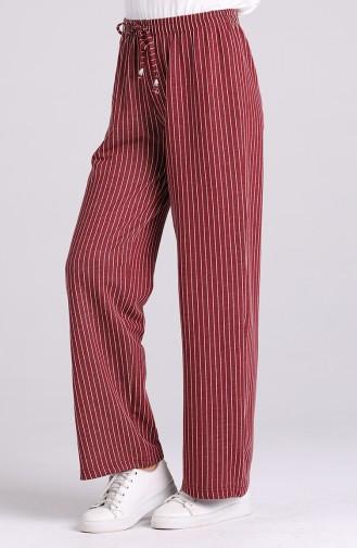 Striped wide Leg Trousers 3180-01 Burgundy 3180-01