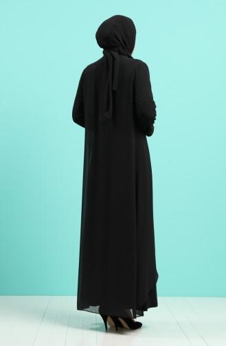 Schwarz Hijab-Abendkleider 4258-01