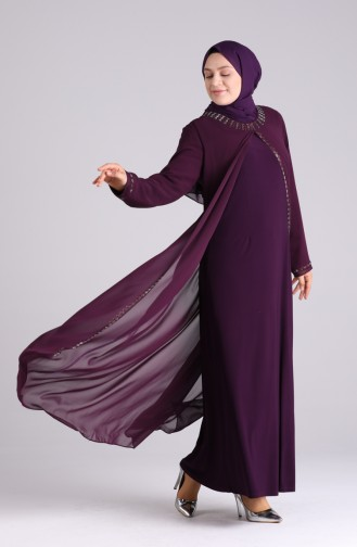 Büyük Beden Taş Baskılı Abiye Elbise 4260-03 Mürdüm