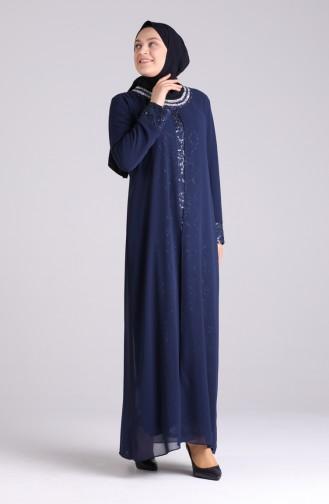 Navy Blue İslamitische Avondjurk 4262-01