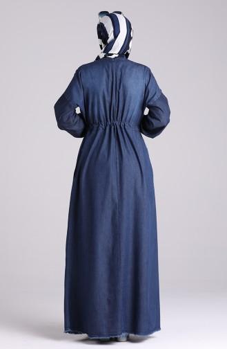 Beli Büzgülü Kot Elbise 7084-01 Lacivert