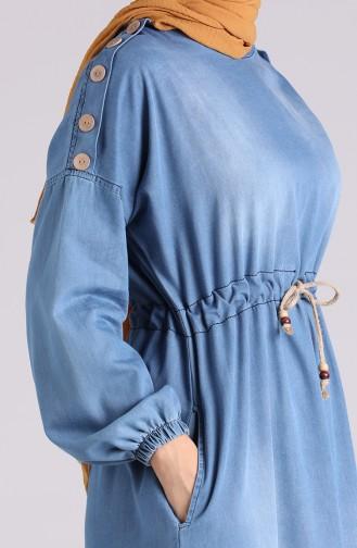 Beli Büzgülü Kot Elbise 7084-02 Kot Mavi 7084-02