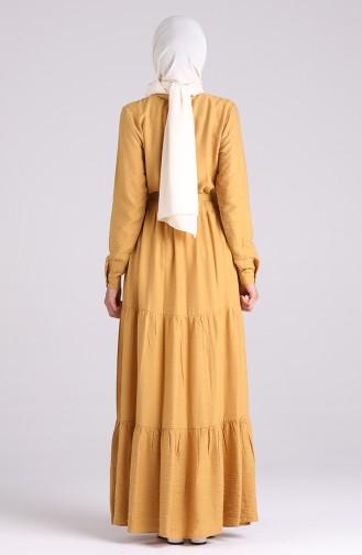 Dunkel-Senf Hijap Kleider 0035-04