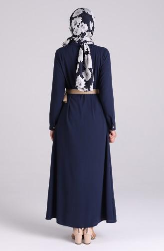 Navy Blue İslamitische Jurk 1322-04