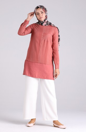 Robe Hijab Rose Pâle 12054-02
