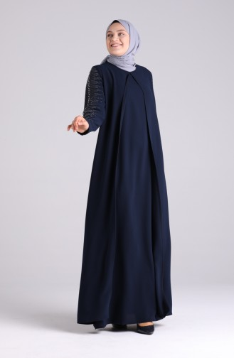 Büyük Beden Taş Baskılı Abiye Elbise 1014-06 Lacivert