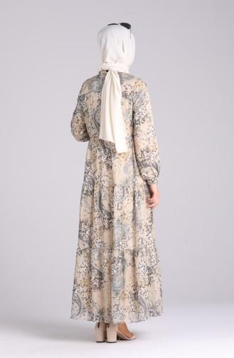 Beige Hijap Kleider 7688-04