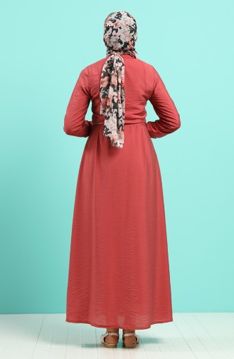 Robe Hijab Rose Pâle Foncé 40102-03
