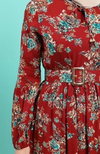 فستان قرميدي 4548-05