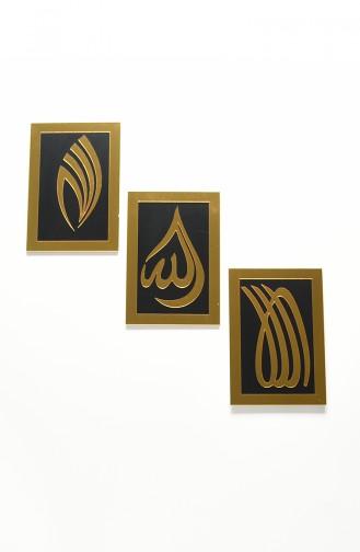 Allah Lafızlı Dikdörtgen Duvar Panosu Üçlü Set 2003-01 Siyah Altın