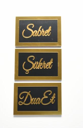 Sabret Şükret Dua Et üçlü Pano Set 4001-01 Siyah Altın