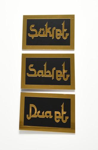 Sabret Şükret Dua Et üçlü Pano set 4003-01 Siyah Altın