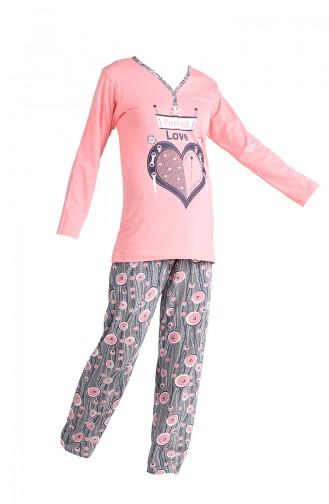 Baskılı Pijama Takım 2650-04 Somon