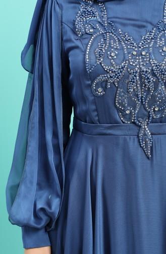 İşleme Detaylı Abiye Elbise 52777-01 İndigo