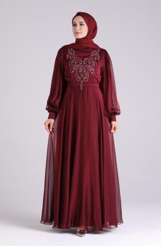Weinrot Hijab-Abendkleider 52777-05