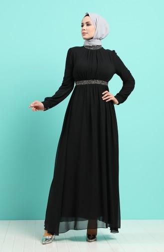 Schwarz Hijab-Abendkleider 4216-02