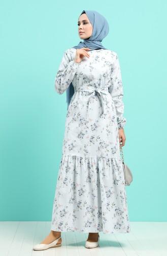 Eisblau Hijap Kleider 4610-01
