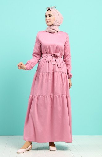 Robe Hijab Rose Pâle 4639-01
