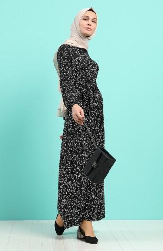 Kolu Lastikli Kuşaklı Elbise 0379-01 Siyah
