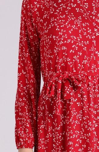 Elastic Sleeve Belted Dress 0379-02 Red 0379-02