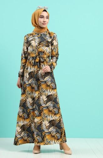 Patterned Dress with Belt 0380-01 Mustard 0380-01