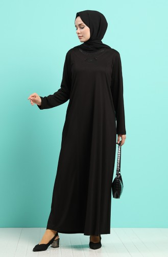 Taşlı Elbise 4522-04 Siyah