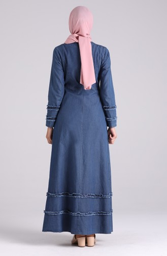 Jeansblau Hijap Kleider 0299-01