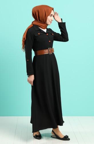 Aerobin Kumaş Kemerli Elbise 5161-01 Siyah