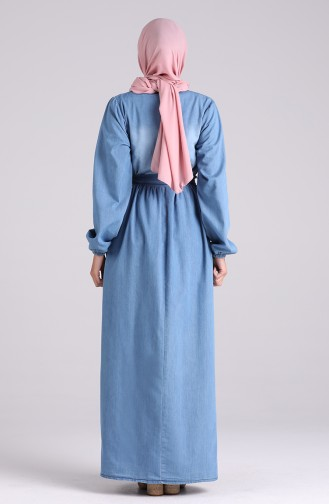 Robe Hijab Bleu Jean 7032-02
