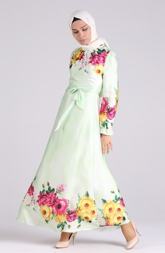 Grün Hijap Kleider 60156-01