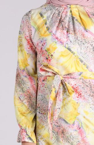 Desenli Kuşaklı Elbise 60160-02 Sarı