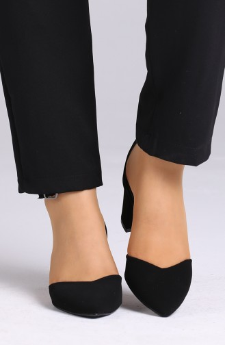 Bayan Bant Detaylı Topuklu Ayakkabı 0612-06 Siyah Süet