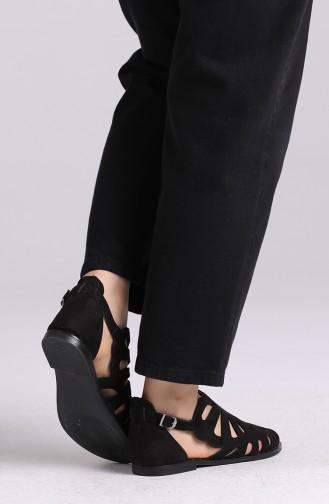 Bayan Sandalet 0011-04 Siyah Süet