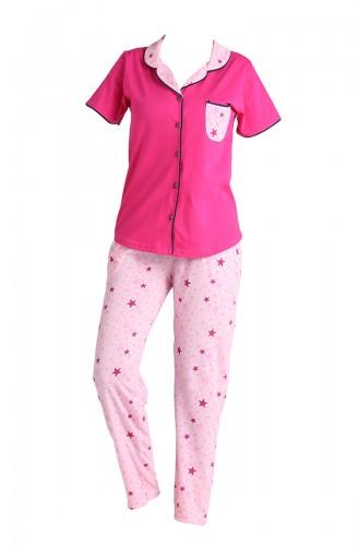 Bayan Kısa Kollu Pijama Takımı 2543 Fuşya