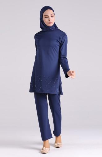 Maillot de Bain Hijab Bleu Marine 1013-03