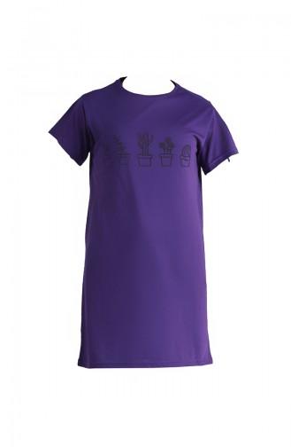 Baskılı Tshirt 8133A-02 Mor
