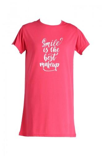 Baskılı Uzun Tshirt 8139-01 Pembe