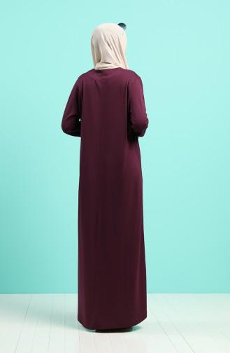 Taşlı Elbise 4522-01 Mürdüm