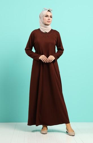 Taşlı Elbise 4522-06 Kahverengi