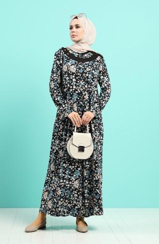 Çiçek Desenli Elbise 4589-03 Siyah Petrol